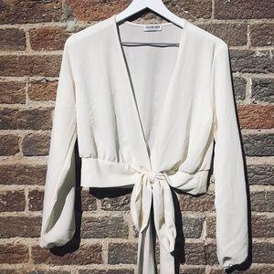 Cream Long Sleeve Wrap Blouse